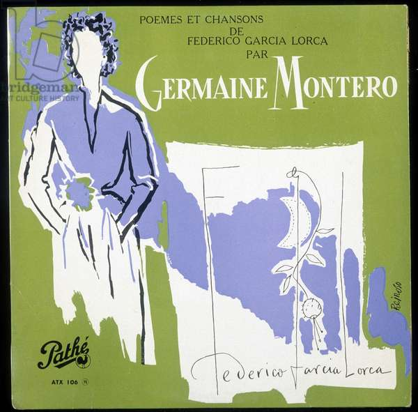 "Cover of the album by Germaine Montero """" Poemes and songs by Federico Garcia Lorca"""". This document must be published in its entirety. DR."