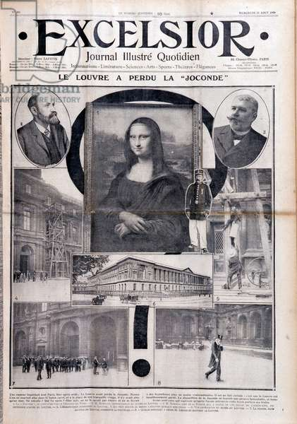 "The Louvre lost the Mona Lisa (Mona Lisa - Monna Lisa)"""" - Article related to the theft of the work whose author is not yet identified (Vincenzo Peruggia (1881-1925). in """" Excelsior"""" of 23/08/1911"