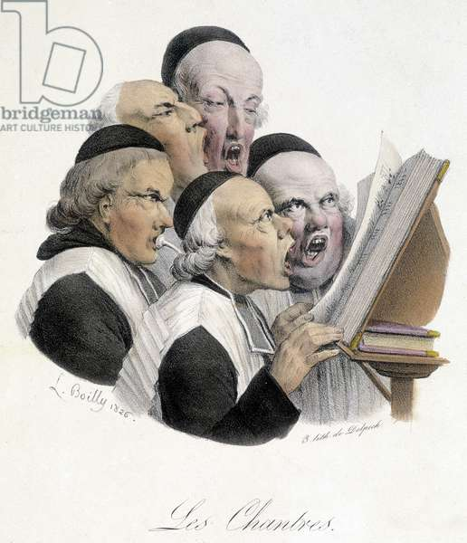 Singing religious men (Les chantres). Caricature by L. Boilly dating from 1826.
