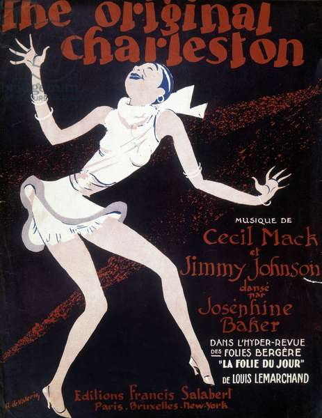 "Sheet music for the magazine """" The original charleston"""" by C Marck and J Johnson, dance by Josephine Baker at the Folies Bergere - illustration by Roger de Valerio (1886-1951), ed Salaber, 1923"