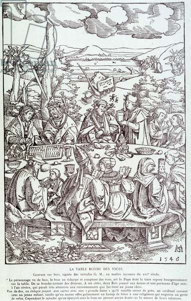 The round table of vices: play, greed, lust, pride... - Engraving 1546