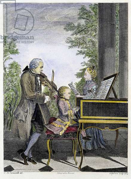 Wolfgang Amadeus Mozart child on piano surrounded by his father Leopold on violin and his sister Marianne on singing - engraving, 19th century