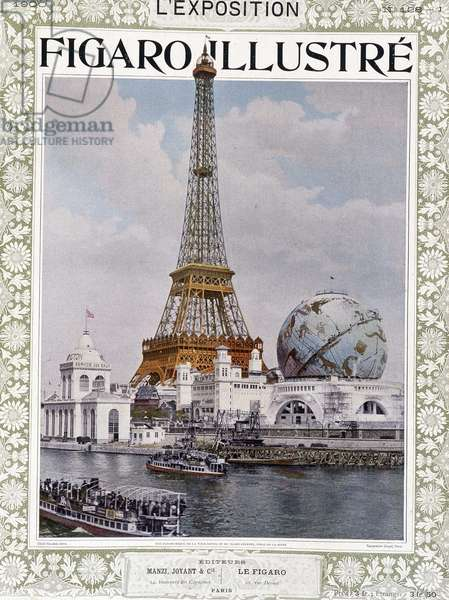 """View of the exhibition of 1900 with Eiffel Tower - in """""""" Figaro illustrated"""""""", 1900"""