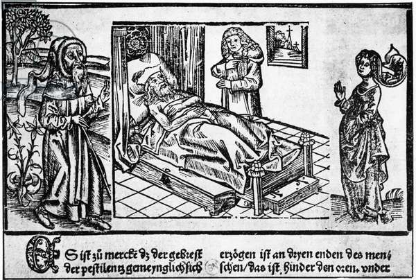 """The doctor in bed of the pestiferé, wood engraving of the """"Liber pestilentialis"""" by Jérôme Brunschwig, Strasbourg, 1500."""