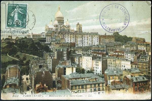 General view of Montmarte and Sacre-Coeur (Sacre Coeur), Paris, colour postcard, early 20th century.
