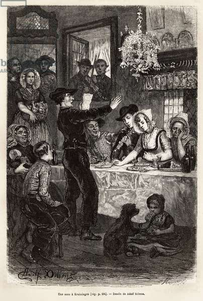 """A wedding in Kruiningen, after the celebration of the wedding by the mayor, the feast brings together the cortege and the young wives in a cabaret, where the local poet received a compliment to the young spouses with the sound of the violin and a flute, engraving after the drawing by Adolf Dillens, illustrating a journey to Zelande (Neerland), in 1818 73, by Charles de Coster, publishes in """""""" Le tour du monde"""""""" 1874, edited by Edouard Charton, edition Hachette, Paris. Selva Collection."""