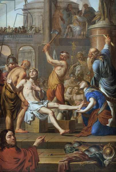 The martyrdom of Saint Adrien (died 306). Painting by Adrien Sacquespee (1629-1688), oil on canvas, 1659. Art francais 17th century. Musee des Beaux Arts de Rouen.