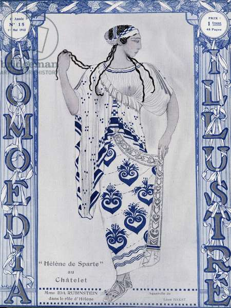 """Les Ballets Russes: Helen of Sparta at the Chatelet, Miss Ida Rubinstein in the role of Helen - watercolour by Bakst, cov. in """""""" Comoedia illustrated"""""""", 1912"""