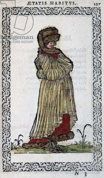 """Muscovite woman - in """""""" Habits et effigies"""""""" by Jean Sulperius, 1572"""
