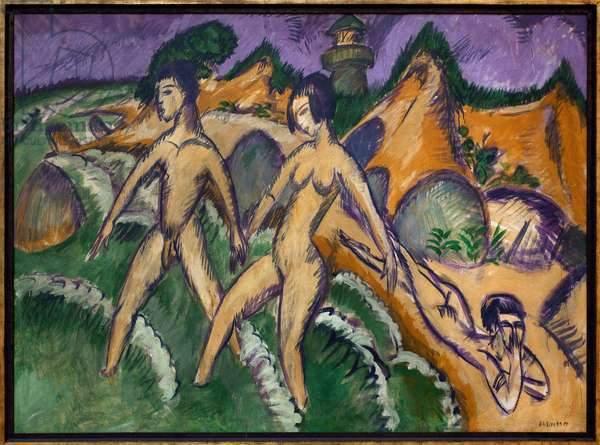 Over the sea. Painting by Ernst Ludwig Kirchner (1880-1938), Oil On Canvas, 1912. German art, 20th century, expressionism. Staatsgalerie, Stuttgart (Germany).