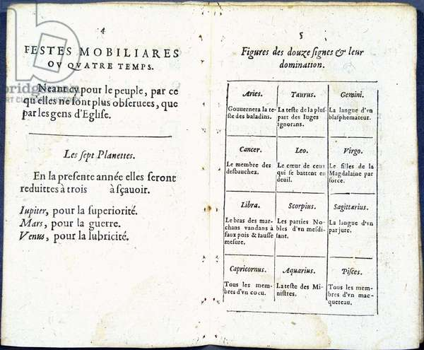 """Planets and astrological signs treated humorously - in """"Almanach pour le temps passe"""""""", by Jean Guerin, 1623"""