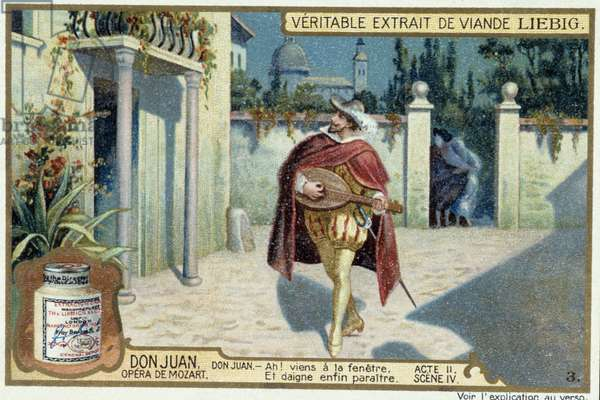 Don Juan: Act II, Scene IV, Serenade by Don Juan - chromo Liebig, 19th