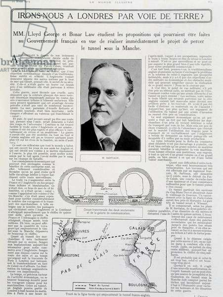 "Channel Tunnel Project ""Will we go to London by land? """" and photo of M. Sartiaux - in """" Le Monde Illustré"""" 22/3/1919"