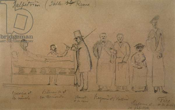 Charcot designed by one of his students. From left to right: patient Genevieve in a camisole, Doctor Desire Magloire Bourneville with a thermometer, Jean Martin Charcot, Raymond and Brissaud, Me Tirperme and Charles Fere. Holy Queen Room, Salpetriere Hospital.
