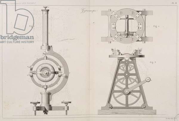 Collection of Scientific Works by Leon Foucault - Planche XI (the gyroscope) of the book published in 1878, edited by Gauthier-Villars