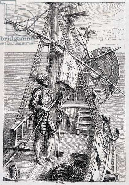 """Christopher Columbus on his trailer, ill. """""""" Discovery de la Terre"""""""" by Jules Verne, ed. Hetzel, n.d. 19th."""