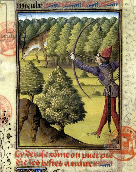 """Deer hunting - in """""""" Hunting book of Gaston Phoebus, Count of Foix, Lord of Béarn"""""""", 14th century"""