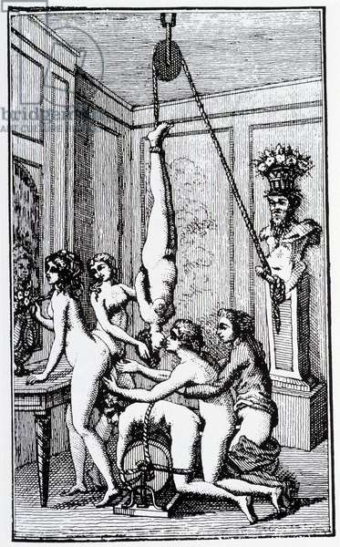 """Erotic scene - in """"The story of Juliette, her sister, or the prosperity of vice"""""""" by Donatien Alphonse François de Sade (1740-1814) better known as Marquis de Sade, Dutch edition of 1789"""