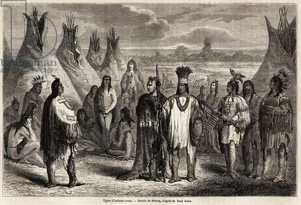 "Types of Crees Indians of Canada, drawing by Pelcoq, to illustrate the exploration of the Rocky Mountains in 1857-59 by Captain John Palliser. Engraving in """" Le tour du monde, nouveau journal des voyages"""" Paris, 1860. Selva's collection."
