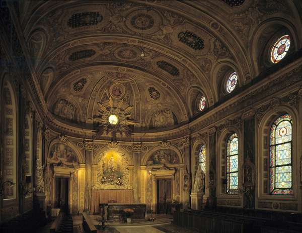Baroque architecture: Chapel of the seminary of the Holy Spirit (Holy Spirit) (1768-1778) by architect Jean-Francois Chalgrin (1739-1811). Internal view. Paris (75).