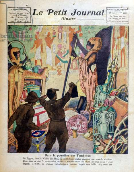 """In the dust of the Tombs (Discovery of the Tombs of All-Ankh-Amon (Tutankhamun treasor) in the Valley of the Kings by the English archaeologist, Carter) - in """""""" The Petity Journal"""""""", 1922"""