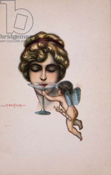 Young woman has the glass of champagne and angelot - postcard, deb. 20th century illustration of A. Bertiglia