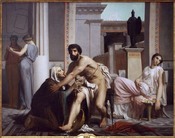 Odysseus recognised by his nurse, Euryclee, 1848 (oil on canvas)
