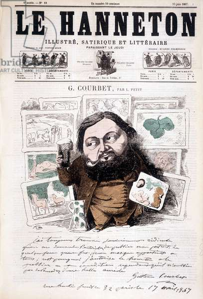 Portrait of Gustave Courbet, French painter (1819-1877). In Le hanneton, 13/06/1867. Cartoon by L. Little.