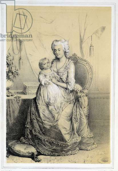 """Portrait of Marie Antoinette (1755-1793), Archduchess of Austria and Queen of France, with the Dolphin of France - in """"Galerie historique de la Revolution francaise"""""""" by Albert Maurin, 1843"""