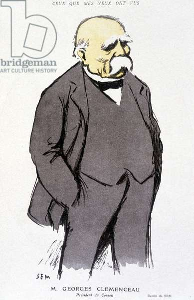 """Portrait of Georges Clémenceau - dess. by Sem (1863 - 1934), in """""""" Fantasio"""""""" of 01/02/1918, no. 265"""