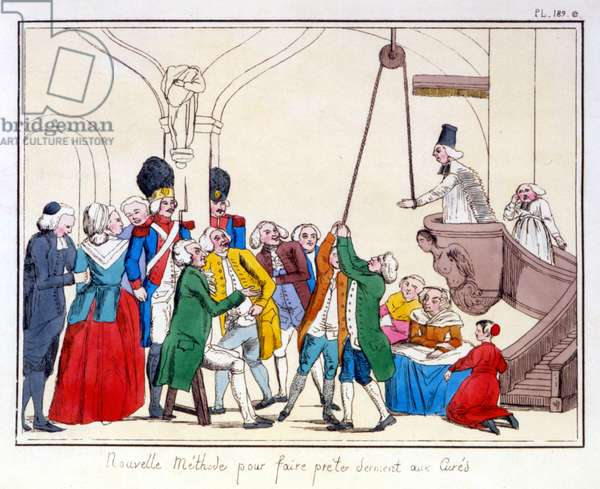 The three orders of France according to a painting preserved in the town hall of Aix en Provence. Cartoon on the inequality of the three orders after the revolution 1789.