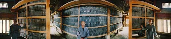 The library of the temple of Haeinsa, containing the 81258 engraved boards of the tripitaka, or boudhic cannon. 360 degree panoramic by Leonard de Selva, Korea, 2005.