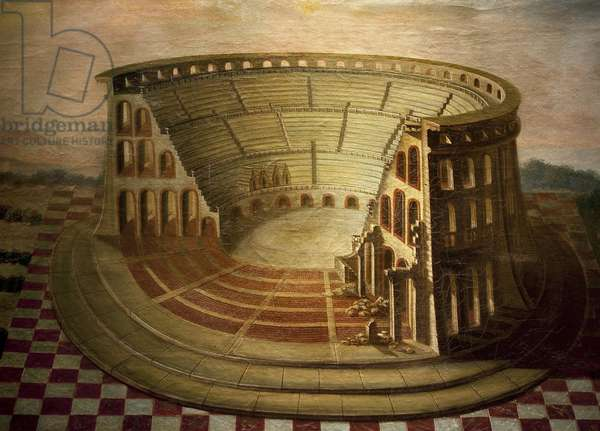 Angers, Grohan amphitheatre (Grohan) (ca. 115 AD). Painting by Marie Louis Claude Coulet de Beauregard (18th century), oil on canvas, last quarter of the 18th century. Museum of Fine Arts in Angers.