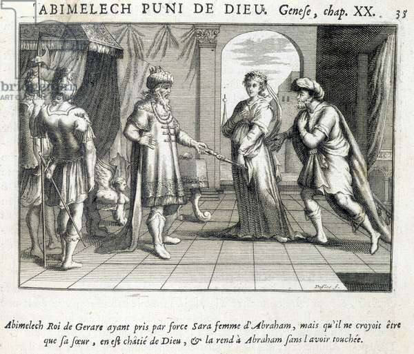 Abimelech gives Sarah to Abraham - Bible, engraving, 17th century