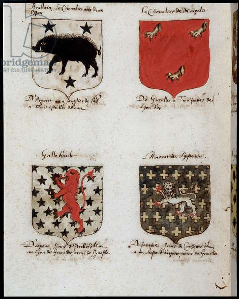 Blazons of Knights of the Round Table: 1. Brallain, the knight with two swings, 2. The Knight of Norgales, 3. Gallehault, 4. The amorate of Lystenois. sd. 19th century.