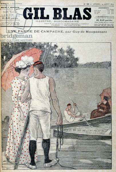 """Cover of """""""" Gil Blas"""""""" illustrating """""""" A part of the Campaign"""""""""""" by Guy de Maupassant. 14/08/1892."""
