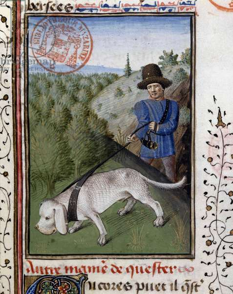 """Hunting dog held on a flairing leash - in """""""" Book of Hunting by Gaston Phoebus, Count of Foix, Lord of Béarn"""""""", 14th century"""