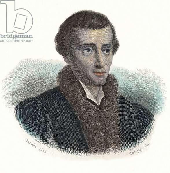 """Portrait of Nicolas Copernicus (Nicolaus Copernicus, 1473-1543), Polish astronomer. In """""""" Portraits of Useful Men"""""""", 1833-1836."""