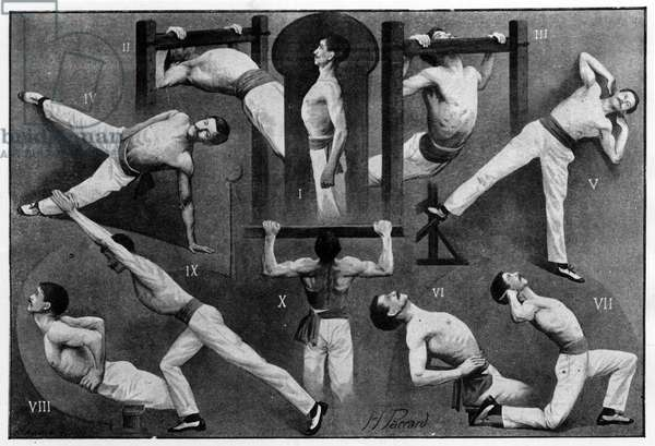 """Some positions of the Swedish method of gymnastics, -in """"La Gymnastique Suedoise"""" by L. G. Kumlein and Emile Andre, published by Flammarion in 1900."""