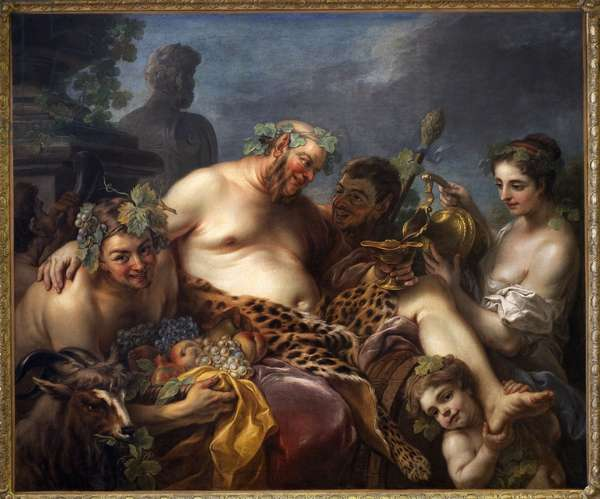 Silene's drunk. Painting by Carle Van Loo (1705-1765), Oil On Canvas, 1747. French Art, 18th century. Musee des Beaux Arts de Nancy.