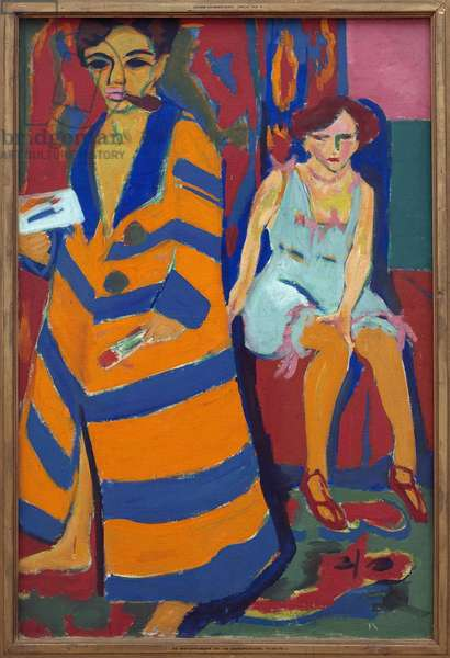 Self-portrait with a model. Painting by Ernst Ludwig Kirchner (1880-1938), Oil On Canvas, 1910 and 1926. German art, 20th century, expressionism. Kunsthalle Hamburg (Germany).