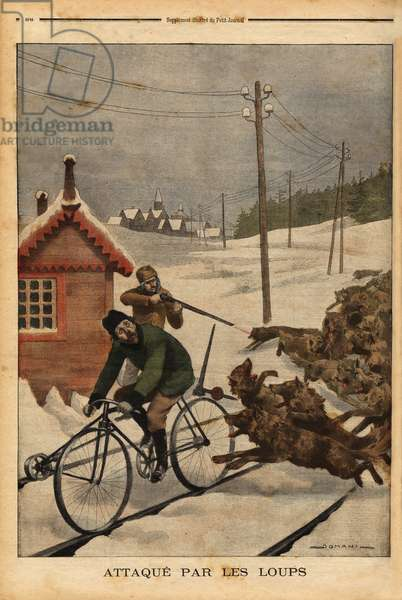 """A Swedish railway inspector doing his turn, pedal on a draisine, when a pack of wolves starts chasing him, fortunately, the station turner sees his colleague arrive and shoots with a rifle to escape the wolves. Engraving in """""""" Le petit journal"""""""" 16/3/1902. Selva Collection."""