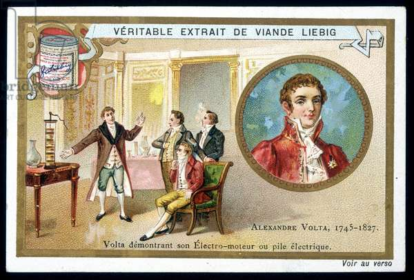 Alessandro (Alexandre) Volta demonstrating its electro-motor or electric battery - chromo. Liébig, c. 1900