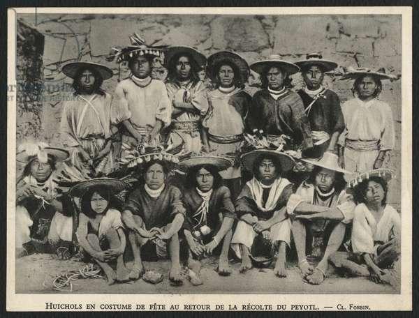 Postcard depicting Huichols celebrating the picking of peyote, c.1900 (b/w photo)