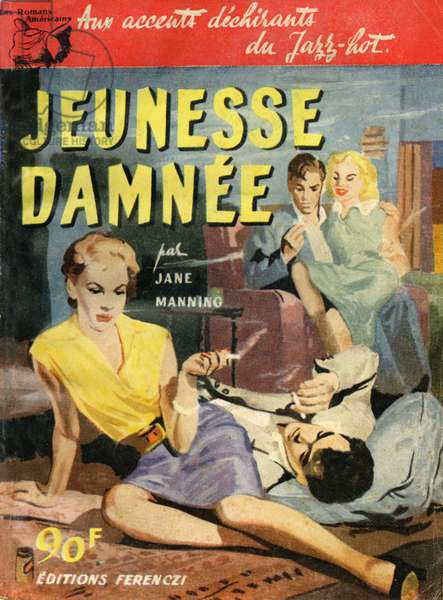 Front cover of 'Jeunesse Damnée', by Jane Manning, 1956 (colour litho)