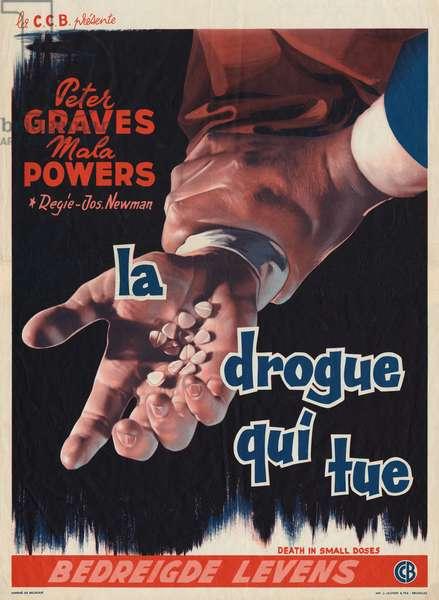 Belgian poster for the film 'La Drogue qui tue', 1957 (colour litho)