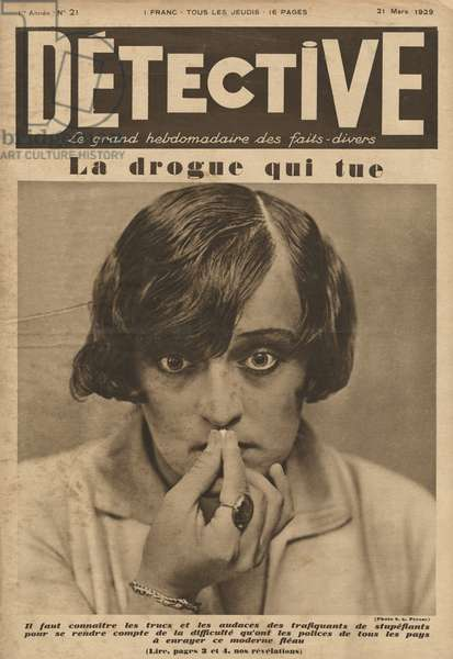 'Drug which kills', front cover illustration from 'Detective', 21st March 1929 (photolitho)
