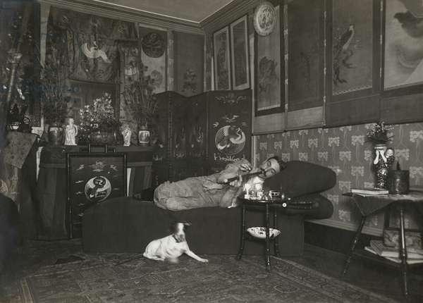 Opium smoker, Paris, c. 1910 (b/w photo)