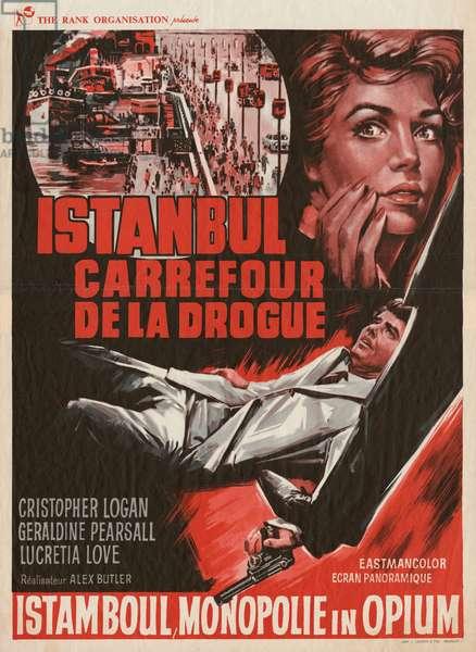 Belgian poster for the film 'Istanbul carrefour de la drogue', 1965 (colour litho)
