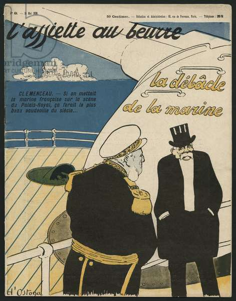 The debacle of the navy, Georges Clemenceau, illustration from 'L'Assiette au Beurre', 15th May 1908 (colour litho)